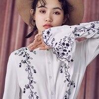 LYNETTE S CHINOISERIE Spring Autumn Original Design Women Embroidery All Match Vintage White Shirt