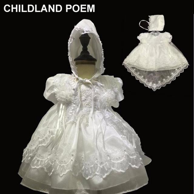 Verão newborn 1 anos de menina vestido de princesa da festa de casamento do aniversário do bebê Crescido vestidos de Baptizado batismo do bebê vestido da menina com chapéu