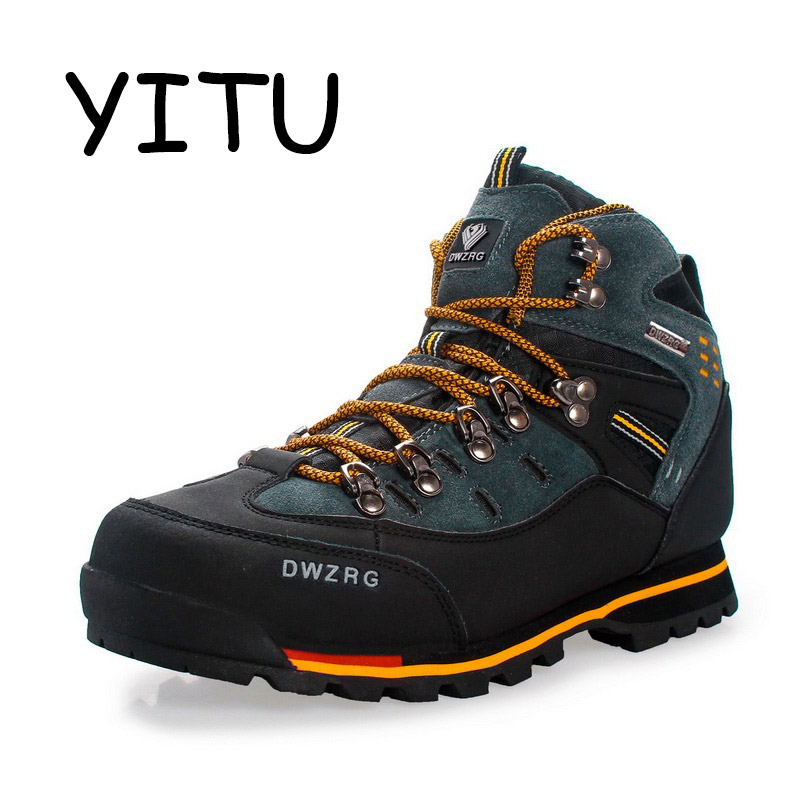 YITU Breathable Outdoor Hiking Shoes Camping Mountain Climbing Hiking Boots Men Waterproof Sport Fishing Boots Trekking Sneakers-in Hiking Shoes from Sports & Entertainment    1