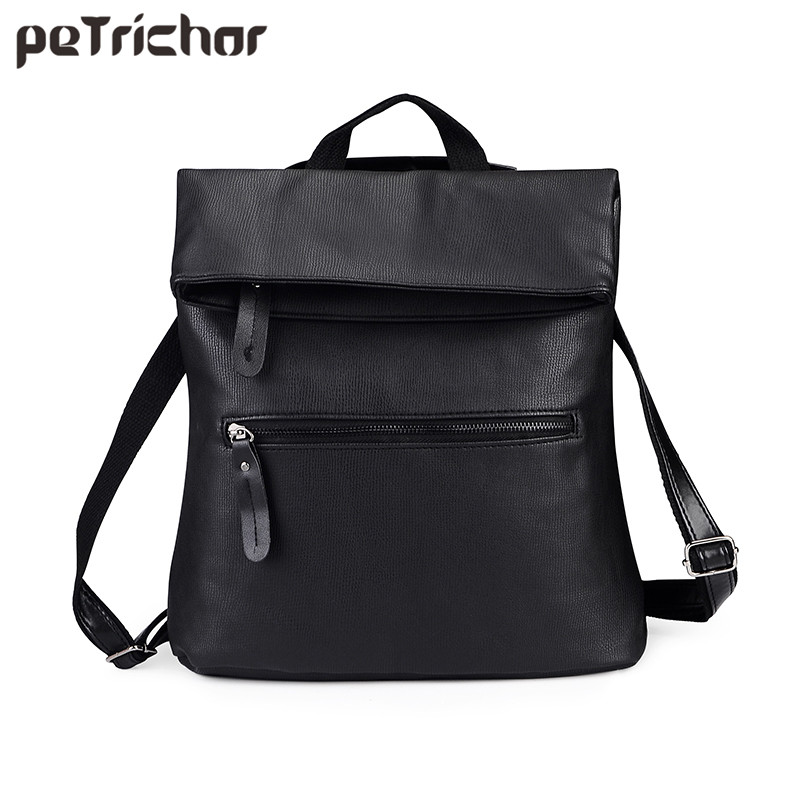 цена на Petrichor Women Backpacks Ladies PU Leather Bag Zipper Female School Shoulder Bags Teenage Girls College Student Vintage Bag