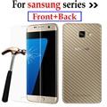 Для Samsung Galaxy J3 J5 J7 A5 A7 S3 S4 S5 S6 S7 Note3 Примечание Закаленное Стекло Экрана Протектор + Углерода Стикер Фильм случае