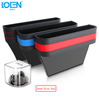 LOEN 1PC Black PU Leather ABS Car Armrest Storage Organizer Between Front Seats Car Seat Gap