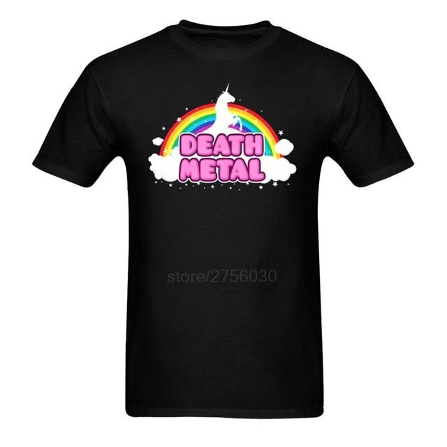 Death Metal Funny Unorn Rainbow Mosh Parod Men T Shirts Teenage 100% Cotton T Shirt 3d Printed O-Neck Adult T-Shirts