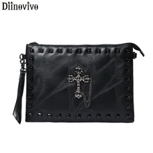 DIINOVIVO Cross Design Women Clutch Bag Punk Rivet Shoulder Purse Thread PU Leather Envelope Crossbody Bags Female WHDV1174