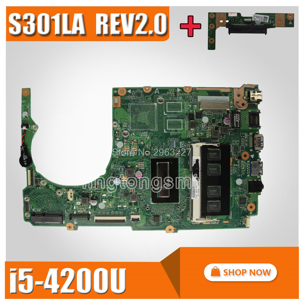 send board+S301LA Motherboard REV2.0 I5-4200U For ASUS Q301LP Q301L S301L Laptop motherboard S301LA Mainboard S301LA Motherboardsend board+S301LA Motherboard REV2.0 I5-4200U For ASUS Q301LP Q301L S301L Laptop motherboard S301LA Mainboard S301LA Motherboard
