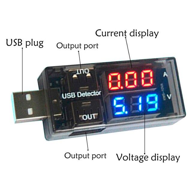 2 in 1 USB Stroom Spanning Tester Meter USB Spanning Ampèremeter USB Detector Dubbele Rij Toont Volt Meter Test