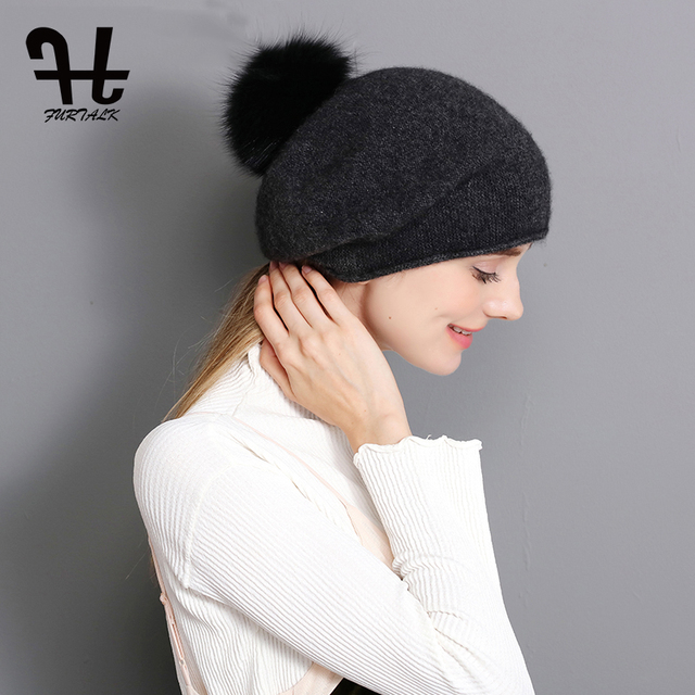 a069450af873b FURTALK 100% Cashmere Women Winter Spring Wool Hat Warm Beret Slouch  Russian Baggy Knit Beanie Fox Fur Pom Pom Hat