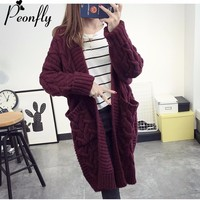 PEONFLY Long V-Neck Cardigan Female 2017 Autumn Long Sleeve Plus Size Solid Cardigan Women Sweater Pockets Knitted Jacket Tops