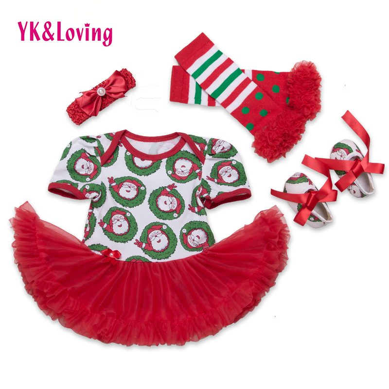 0-2Y Christmas Baby Rompers tutu Dress Santa Claus Short Sleeve Baby Girl Infant Clothing Set Polka Dot Legging Warms Shoes Set