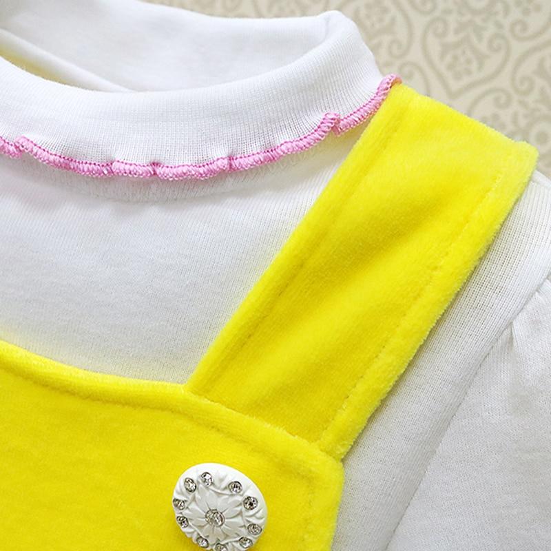Wenig Q baby prinzessin elegante kleider für 0-3 jahre alten mädchen Kinder 2 teile/satz 100% baumwolle langarm bluse + velours kleid