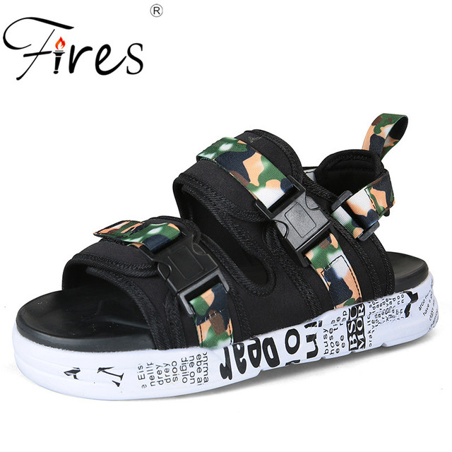 768a389084a23 Fires Trend Men Sandals Camouflage Black Beach Shoes Comfortable  Lightweight Unisex Casual Shoes Summer Cool Couple
