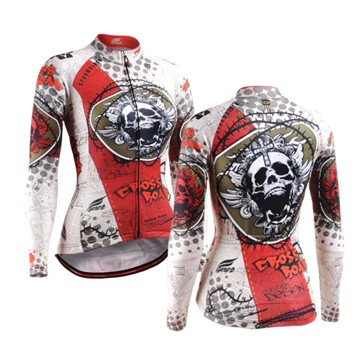 Skulls Printed Women Autumn Cycling Jersey Long Sleeve Bicycle Clothing Shirt Only Girl Bike Clothes Ropa Ciclismo long sleeve small geometric printed shirt