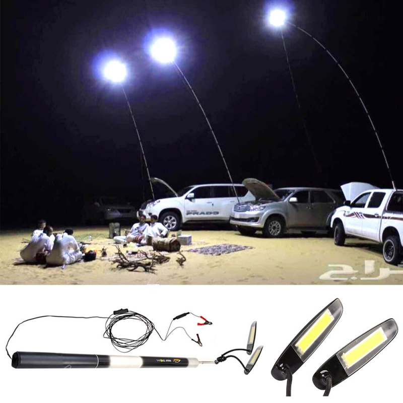 5.4M 12V 48W 2-LED 6000-6500K White Light Retractable Portable Outdoor Camping Lamp Black & Silver square 8w 800lm 6500k cob led white light lamp silver yellow 25 28v