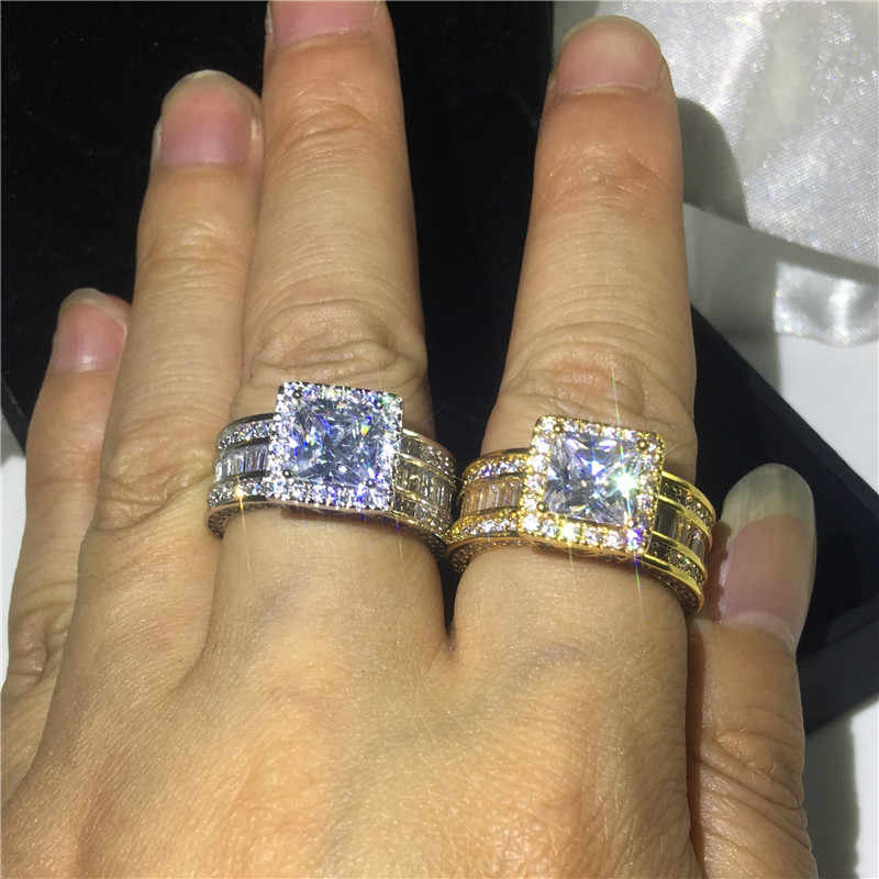 Choucong VINTAGE Court แหวน 925 เงินสเตอร์ลิงเจ้าหญิงตัด 8 มม.AAAAA CZ แหวนแต่งงานแหวนผู้ชายเครื่องประดับ