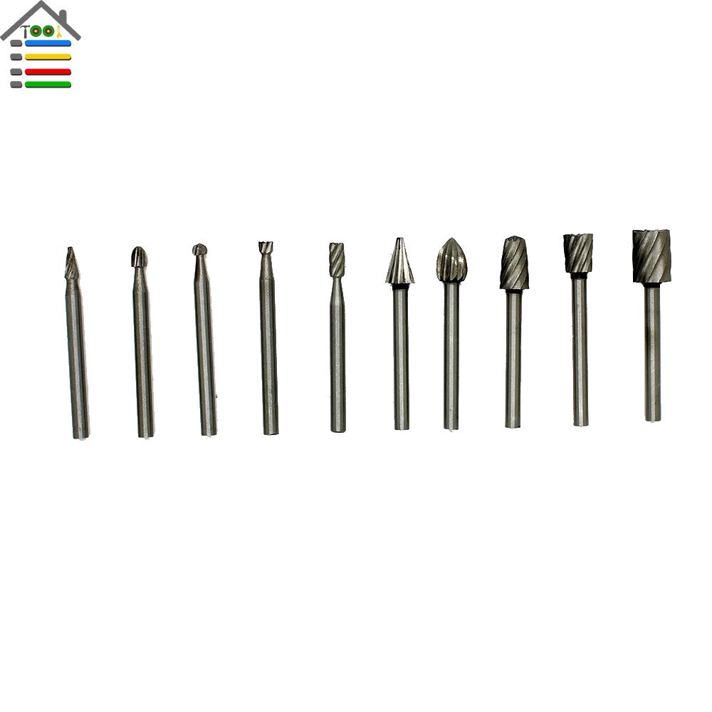 10pc HSS Routing Router Grinding Bits Burr File Set For Engraving Wood ...