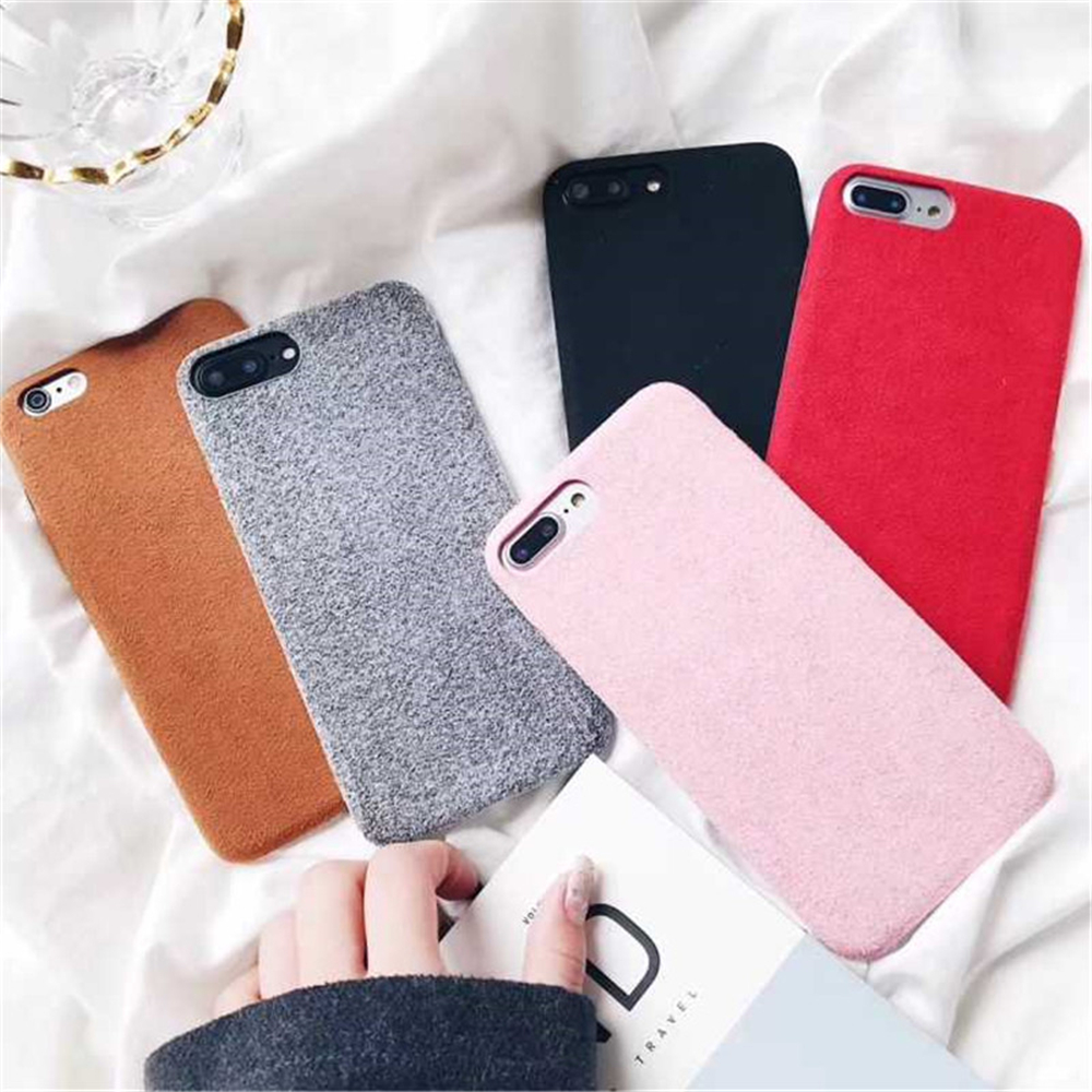 Soft Plush Phone Cases For Apple iPhone 8 7 6 6S Plus Coque For iPhone X XR XS Max Winter Warm Fur Furry Cover Shell Gift Fundas06
