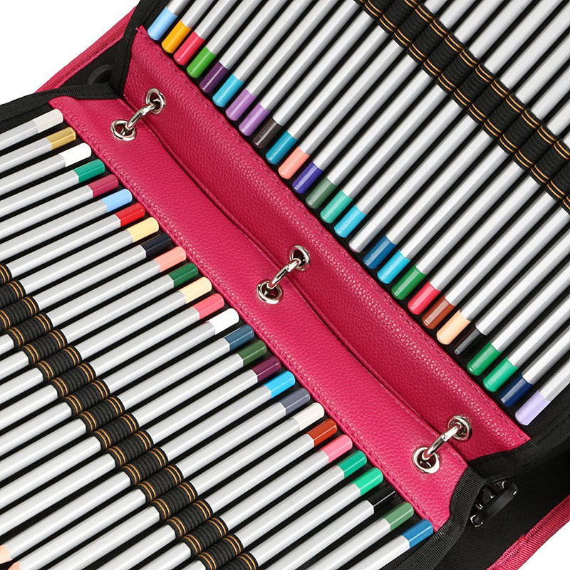 216 Holes School Pencil Case PU Leather Spiral Folding Detachable Pencilcase Large Multifunction Sketch Pen Bag Box Pouch