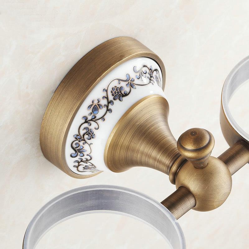 Accessoires de salle de bain mural en porcelaine Antique série AP1 Double porte-gobelets et porte-gobelet 7007AJ - 4