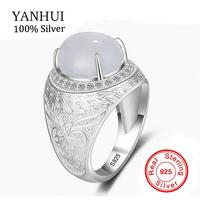 YANHUI New Fashion Pattern Carving Solid 925 Sterling Silver Gem Ring Luxury Cubic Zirconia Man Wedding