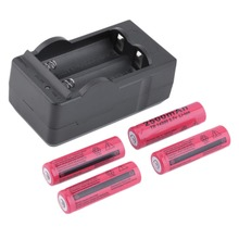 New 4pcs Universal Red Battery with Charger 2500mAh 14500 3.7V Lithium Li-ion Rechargeable Batteries with US Dual Charger Dock