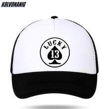 KOLVONANIG Summer Fun Lucky Number 13 Poker Print Baseball Cap for Men Womens Cotton Snapback Ventilate Mesh Caps Trucker Hats