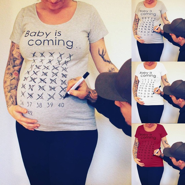 Baby Is Coming Print Maternity T-Shirt