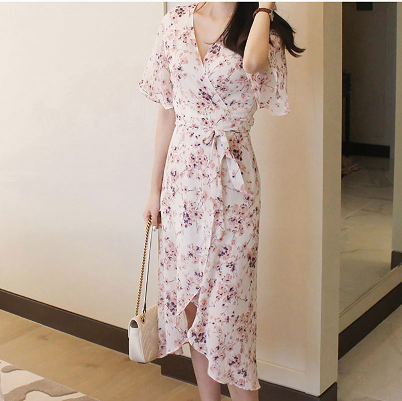 uitchecken Discover website voor korting US $55.72 |2019 Summer Women Floral Chiffon Dress Ladies Beach Wear Midi  Wrap Dresses Strand Jurkjes-in Dresses from Women's Clothing on ...
