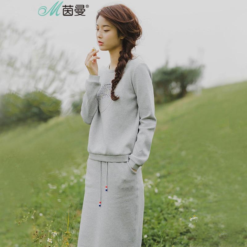 אינמן נשים אביב Florals מכתב רקום מזדמן סוודרי חליפת שתי חתיכה