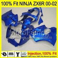 8Gifts Injection mold Body For KAWASAKI NINJA ZX 6R 00 02 INJ154 ZX 6R ZX6R 00 01 02 ZX636 2000 2001 2002 Fairing glossy blue