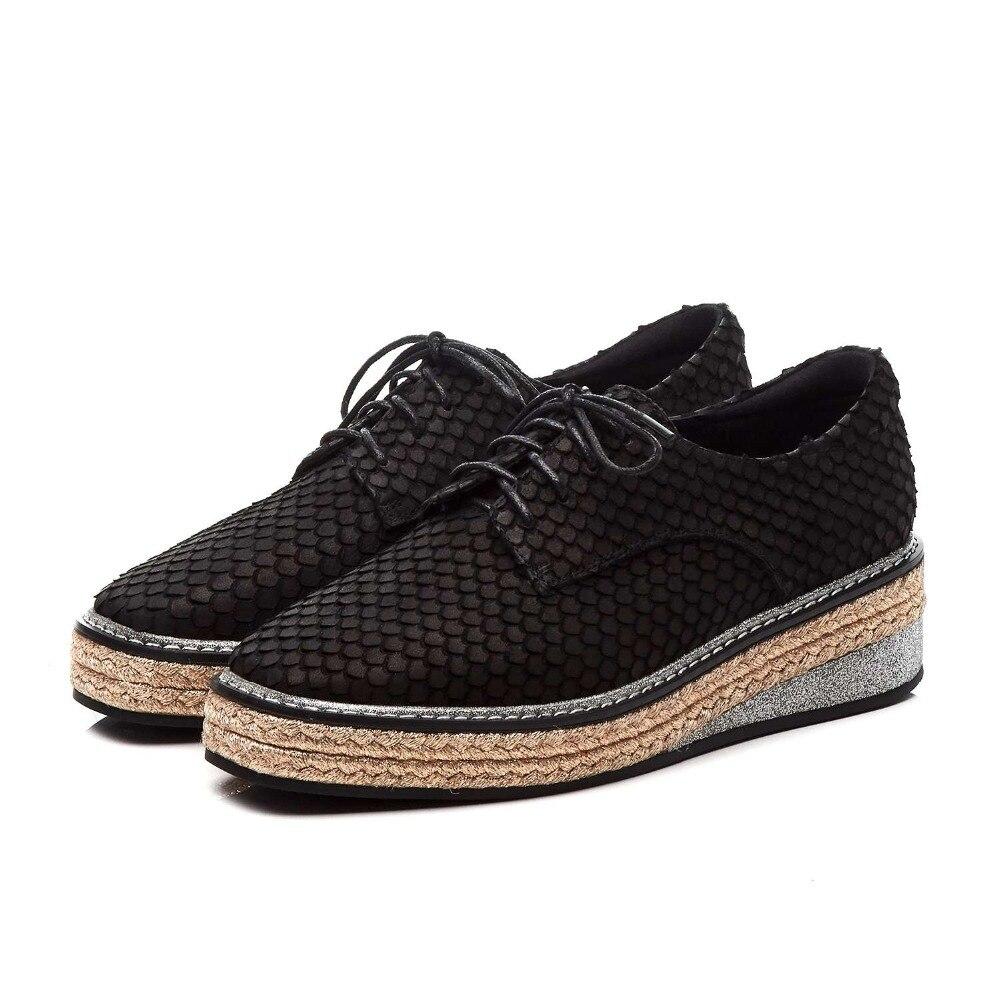 Lenksien concise estilo cunhas plataforma patchwork dedo apontado rendas até mulheres bombas de couro natural do punk namoro casual sapatos L18 - 5