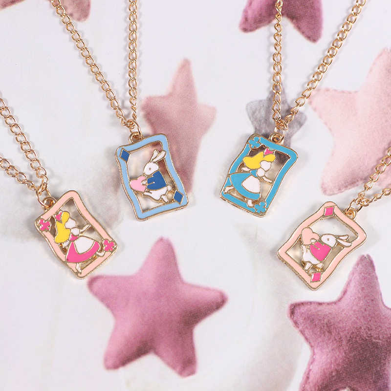 2019 DIY Alice In Wonderland Necklace For Women Girls Cute Girl Rabbit Lovely Pendant Necklaces Female Jewelry Send Child Gifts