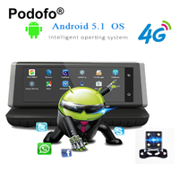 Podofo E02 8 Touch 4G Android Wifi Registrar GPS FHD 1080P Video Recorder Dual Lens Dashcam