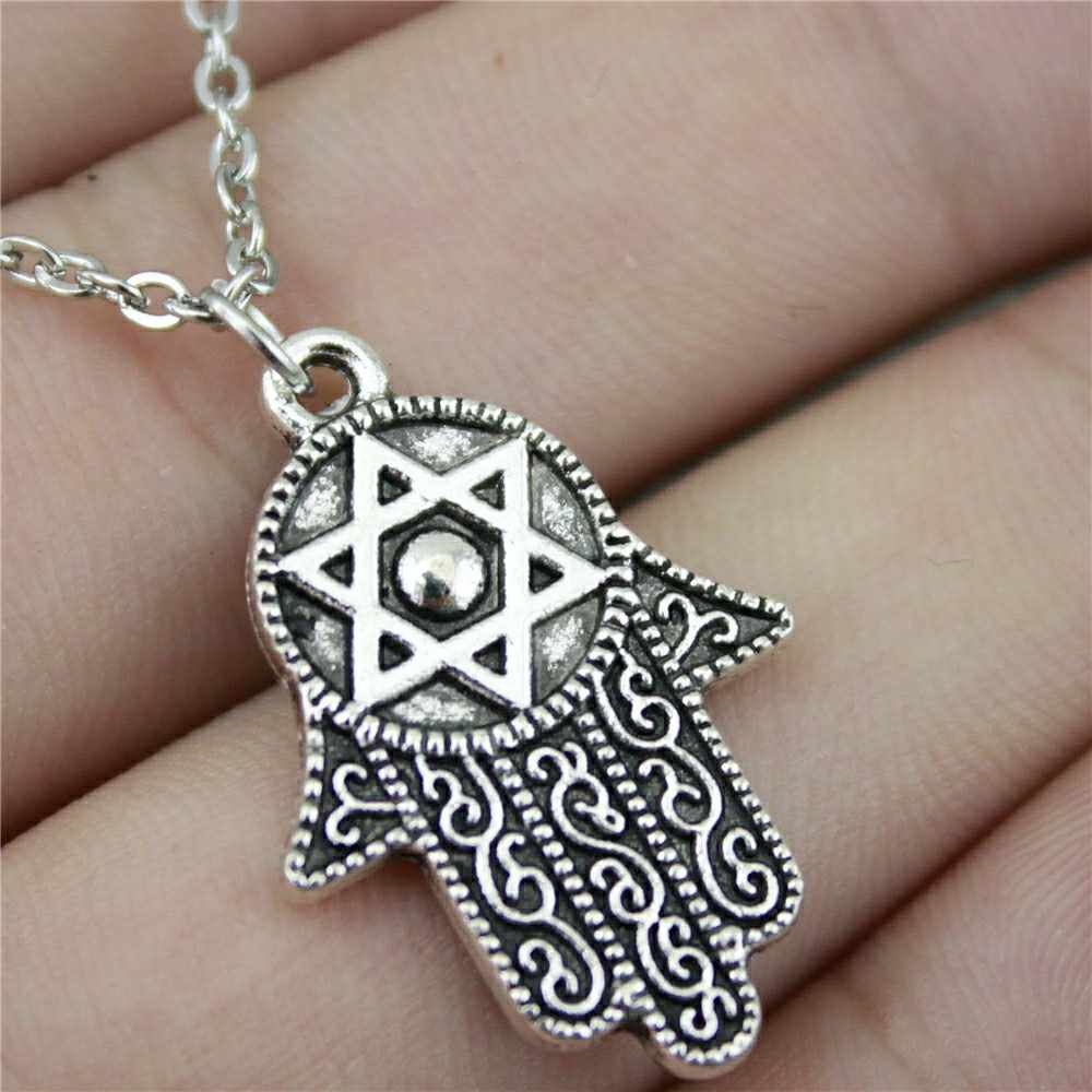 Dropshipping Welcome 28x19mm Hand With Star Of David Pendant Necklace 2 Colors Silver Plated Antique Bronze Color Necklace