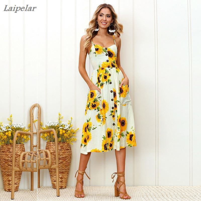 Plus Size S 3XL Women Summer Boho Sexy Backless Dress Floral Bohemian Spaghetti Strap Button Decor Swing Midi Dress with Pockets in Dresses from Women 39 s Clothing