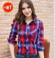 2016 primavera camisa xadrez das mulheres da longo-luva camisa outerwear solto plus size clothing outono blusa camisas mulheres livres navio f227