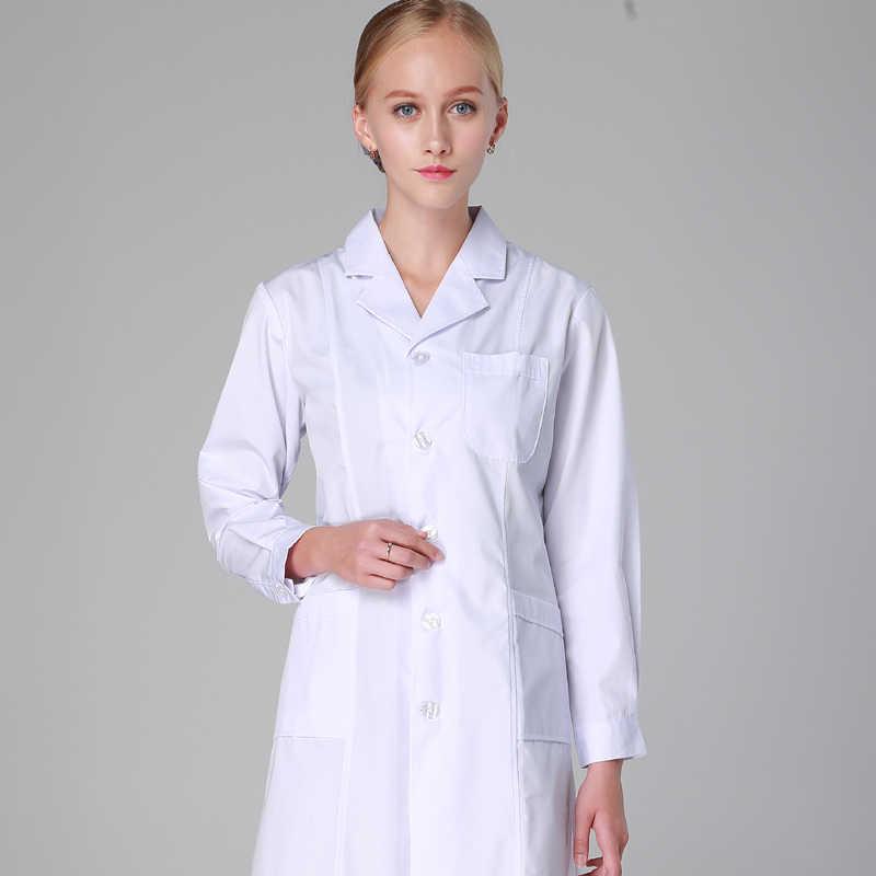 9297c6bb31b ... Winter White Women Men Scrubs Lab Coat Medical Tunic Nurse Doctor  Uniform Lapel Neck Long Short ...