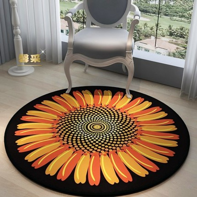 Rose Round Carpet Computer Chair Blanket Simple Stylish Personality Coffee Table Bedroom Home basket Mat