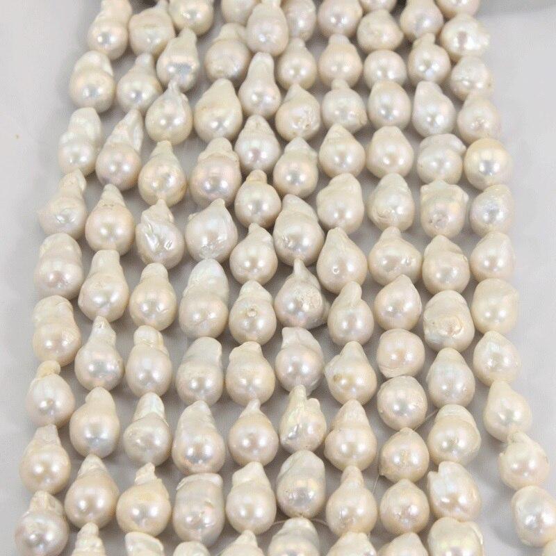 1 hebra 15 25 MM gran Perla Barroca suelta perlas hebras para mujeres collar de lujo blanco Real agua dulce perlas LPS0004-in P. torsión from Joyería y accesorios    2