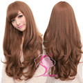 Soft Degre Hair Sexy Fashion 4Colors Long Wave Lady's Synthetic Hair Wig Full Lace Cosplay Wig FreeGift Wig Cup for FreeShipping