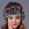 2016 Nova Moda Feminina Elegante Gorros Chapéu Cor Tampas Tampas de Pele de Coelho Rex Genuíno Chapéu Ocasional Das Mulheres de Inverno