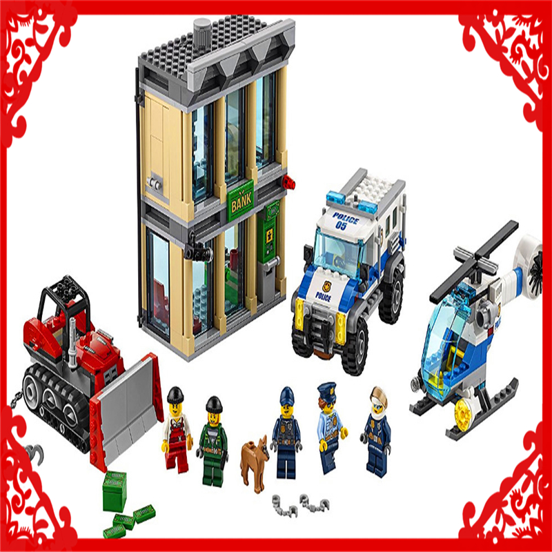 LEPIN 02019 City Police Bulldozer Break-In Building Block 606Pcs DIY Educational  Toys For Children Compatible Legoe jie star police pickup truck 3 kinds deformations city police building block toys for children boys diy police block toy 20026