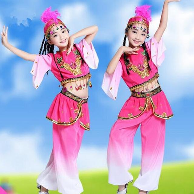 Dança Popular chinesa Dança Meninas Feitos Sob Encomenda das Crianças Tambor Desempenho Chinês Trajes Nacionais de Dança