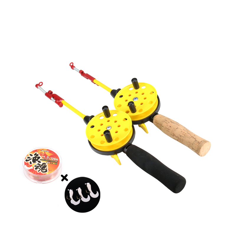 EVA Ice Fishing Rods Raft Wheel Kit Wire Fish Hook Set Winter Ice Fishing Reel Equipment Set Accessories