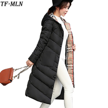 2017 New Long Parkas With Hooded Female Women Winter Coat Thick Down Cotton Pockets Jacket Womens Outwear Parkas Plus Size XXXL