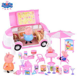 Image 3 - Peppa Pig Anime Figure Doll House Toy Picnic Sports Car Peggy Family Action Figures Birthday Gift Toys for Children
