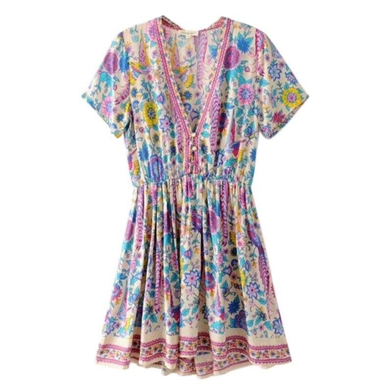 Women 2018 Boho Vintage Floral Print Mini Dress Fashion V-Neck Short Sleeve Summer Beach Dresses