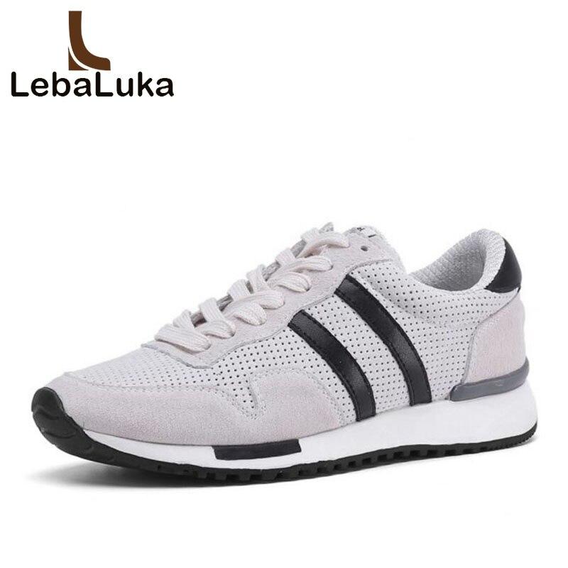 LebaLuka véritable cuir plate-forme baskets femmes doux léger vulcanisé chaussures maille chaussures décontractées respirantes femmes taille 35-39