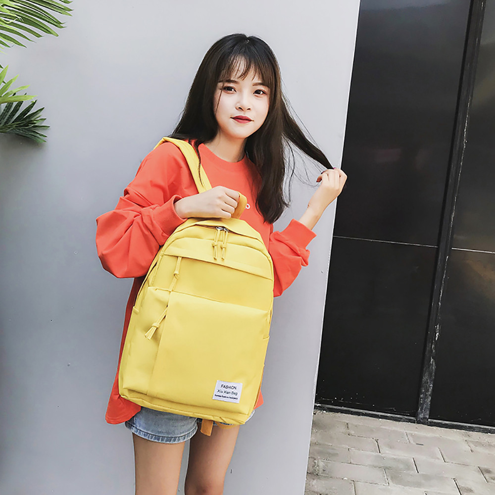 Preppy Style Women Casual Nylon Couple Backpack Simple Versatile College Campus Backpack  School Backpack For Teenage