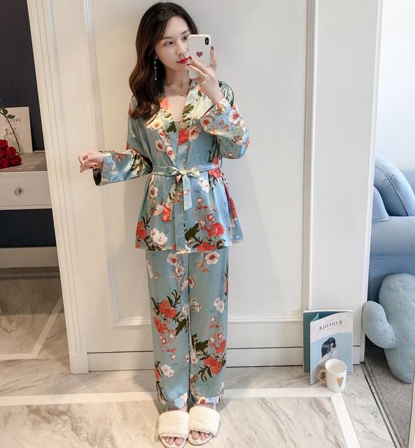 Three Piece Satin Sleepwear Set