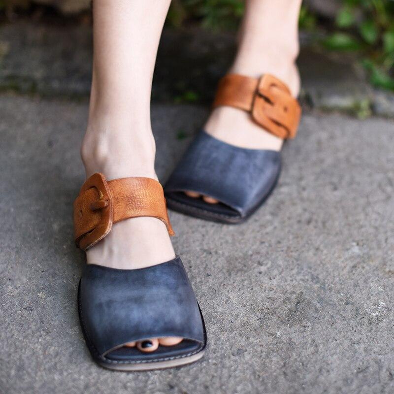 Artmu Original Retro Art Flat Belt Buckle Women Slippers Peep Toe Square Toe Genuine Leather Outside Wear Sandals 1812-15
